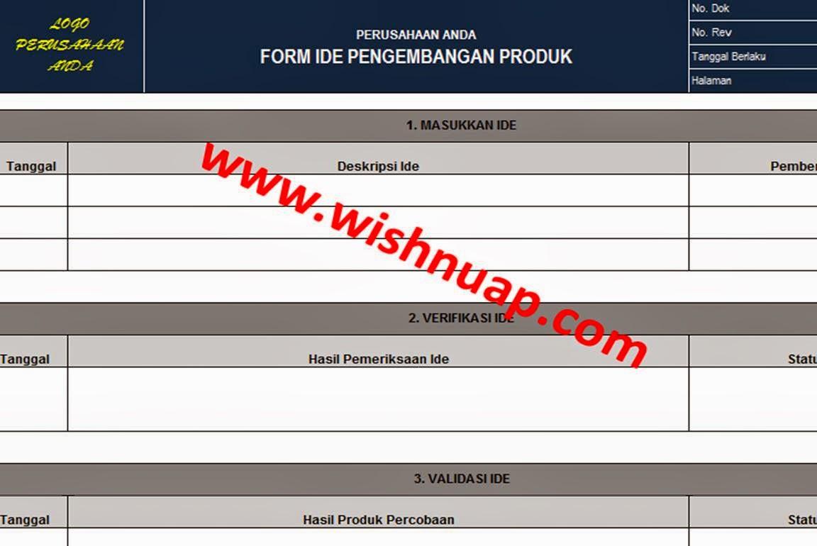 Form Ide Pengembangan Produk