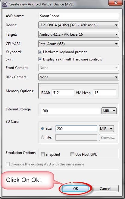 Android AVD Fill Data