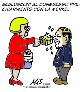 Berlusconi, Merkel, PPE, vignetta satira