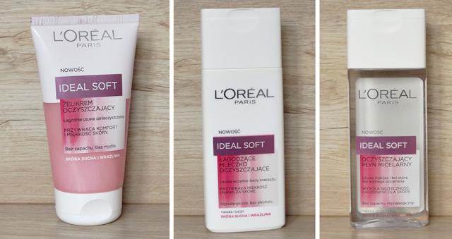 L'Oreal Ideal Soft (krem-żel, płyn micelarny oraz mleczko do demakijażu)