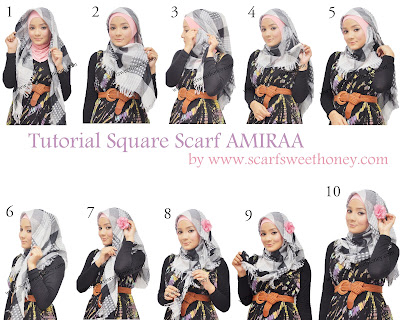 Cara Memakai Jilbab Segi 4 Scarf AMIRAA Style 1