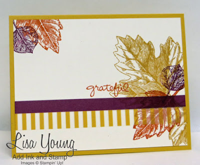 Stampin' Up! Vintage Leaves. clean and simple fall card. washi tape. handmade card by Lisa Young, Add Ink and Stamp