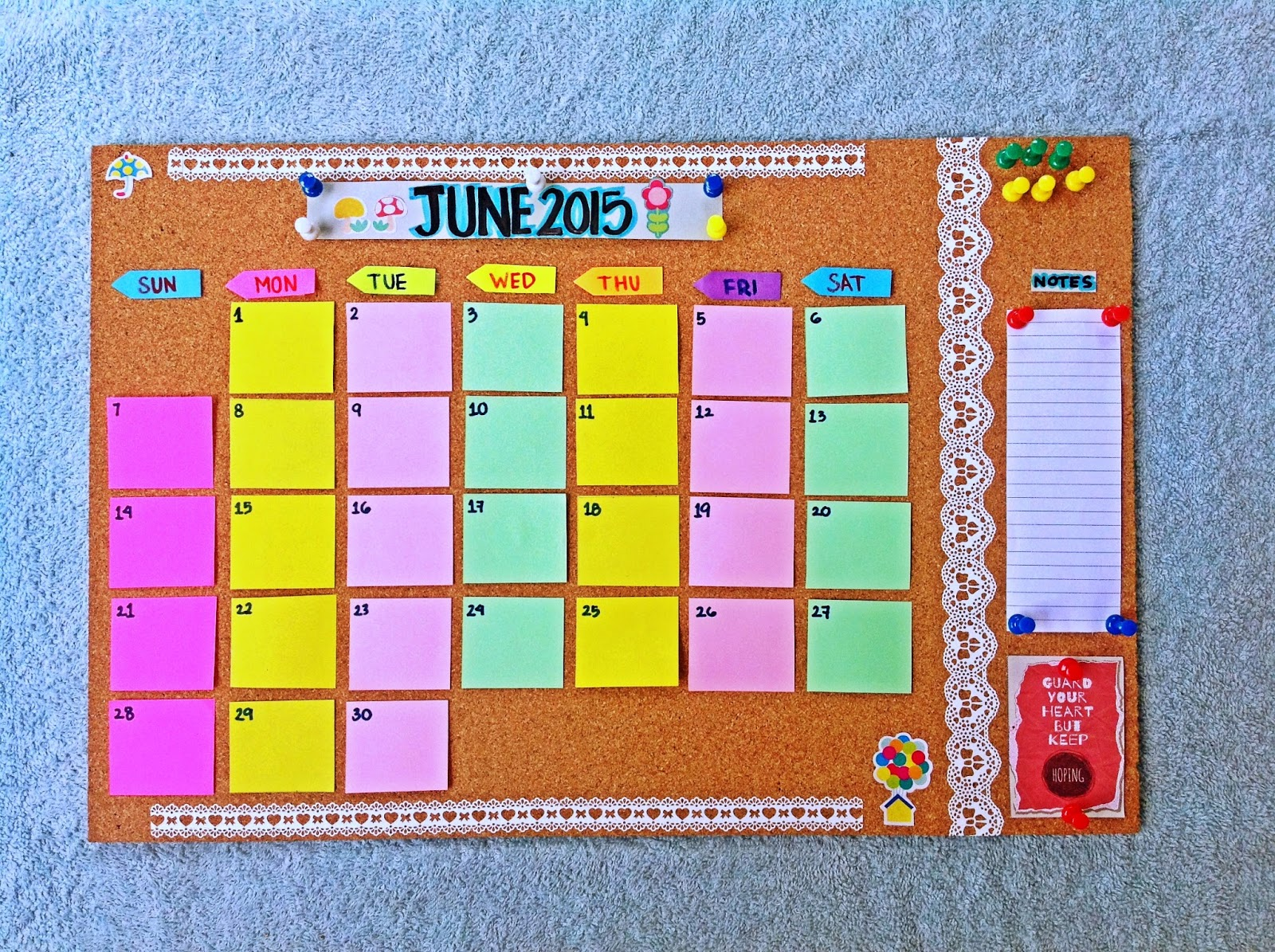 Paper Invader: DIY Cork board Calendar