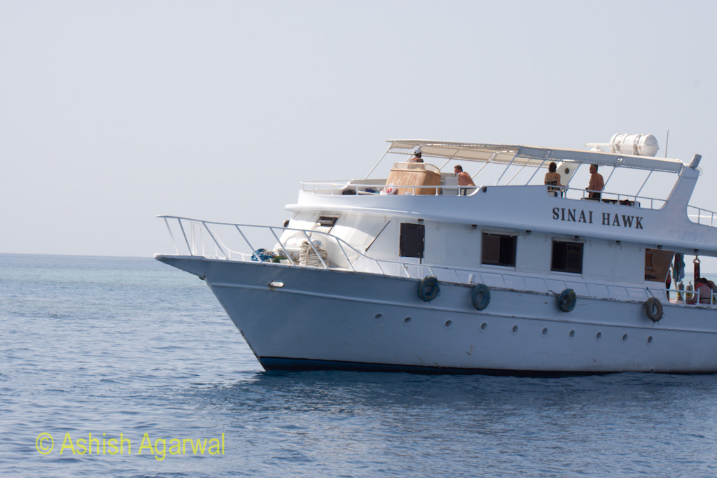 View of a ship carrying tourists a short distance away from Sharm el Sheikh in Egypt