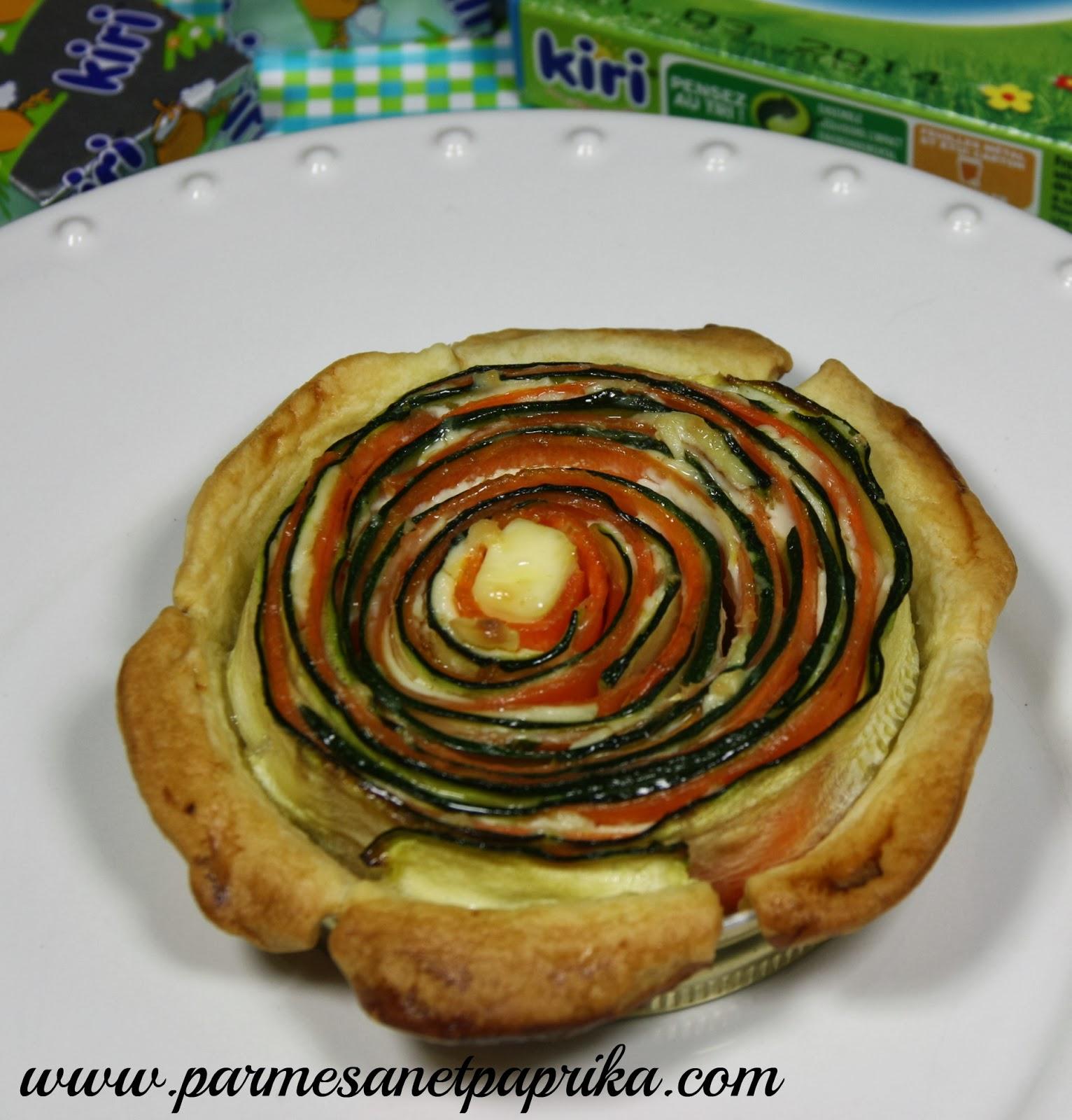 Quiche courgette, carotte, Kiri® pour Nos-Bel-Idées et un concours !   Parmesan et Paprika