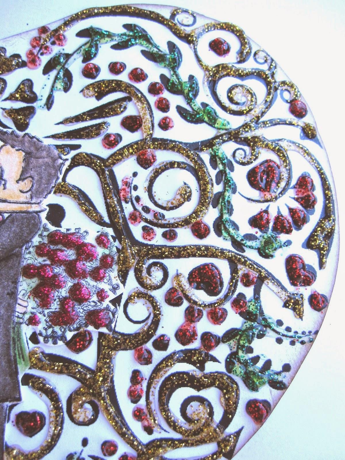 otro detalle de tarjeta de scrapbooking para San Valentín con corazón de filigrana decorado con glitter glue rojo, verde y amarillo