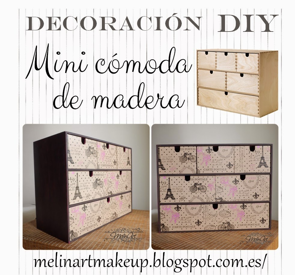 Melinart diy decoraci n de mini c moda de madera moppe for Papel adhesivo para muebles ikea