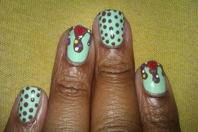 Mint, mint chip, ice cream, drip, nail art, mani