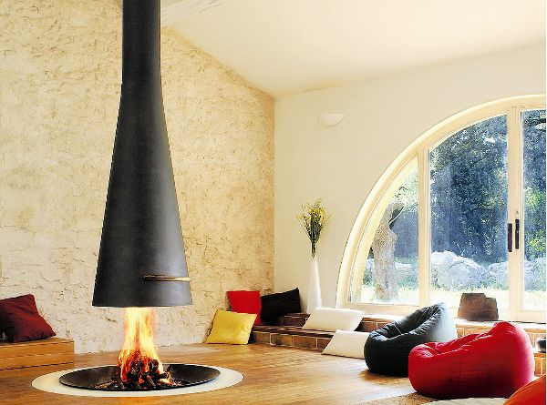 Modern living room with wood burning stove and bean bag chairs
