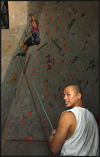 Lead climbing at Aiguille Rock Climbing Center