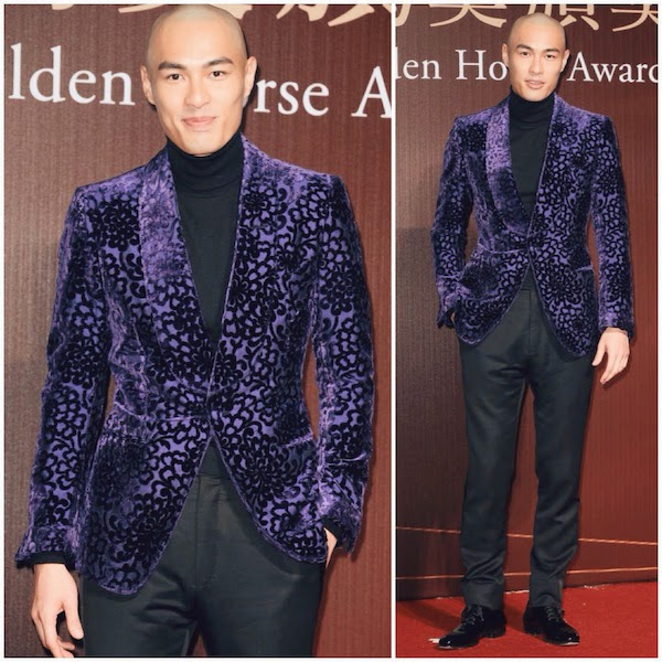 Tony Yang You-Ning wears Tom Ford Fall Winter 2014 velvet Alexander tuxedo jacket to 51st Golden Horse Awards on 22nd November 2014 in Taiwan / 杨佑宁亮相第51届金马奖颁奖礼,光头造型加汤姆福特服饰十分显眼。
