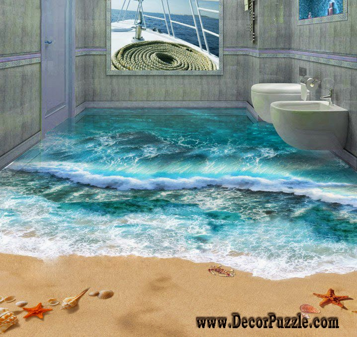 3d bathroom floor murals designs and self leveling floors for Bathroom floor mural sky