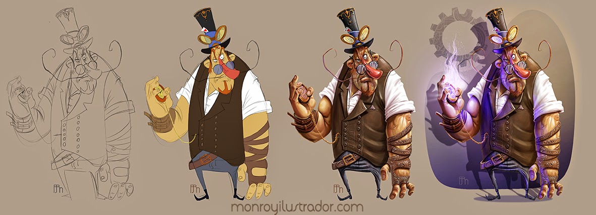 Cartoon STEAMPUNK (Four steps)