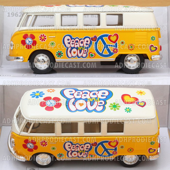 Miniatur VW Bus 1962 White Top Motif (Yellow-32K)
