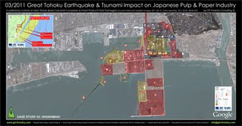 2011 Japan Earthquake & Tsunami Impact on Japanese Pulp and Paper Industry and Forestry Product Ports, Case Study NPG Nippon Paper Group Ishinomaki Pulp and Paper Mill Tsunami Damage Satellite Photography / Impacto del Terremoto y Tsunami de Japon 2011 en puertos de importacion y exportacion de productos forestales e industria de pulpa celulosica y de papel del Japon y en la importacion de astillas de madera de eucalipto a Japon: Estudio de Caso 02: Fabrica de Celulosa y Papel de NPG Nippon Paper Group Ishinomaki, Fotografia Satelital  / パルプ紙2011年の日本地震の影響の予備的な地図セルロース日本 / เยื่อแผ่นดินไหวญี่ปุ่นและแผนที่อุตสาหกรรมกระดาษ / Япония 2011 целлюлозно землетрясения и карта бумажной промышленности / اليابان اللب والورق زلزال 2011 خريطة صناعة / Impacto do Terramoto e Tsunami de Japão  2011 nos portos de importaçao e exportaçao de produtos florestais e na industria do papel e celulose do Japão e na importaçao de chips de madeira de eucalipto do Japão: Estudo de Caso 02: Fabrica de Celulose e Papel da NPG Nippon Paper Group em Ishinomaki, Fotografia Aerea / Gustavo Iglesias Trabado, GIT Forestry Consulting SL, Consultoria y Servicios de Ingenieria Agroforestal, Lugo, Galicia, España, Spain / Eucalyptologics, Information resources on sustainable eucalypt cultivation worldwide / Recursos de informacion sobre el cultivo sostenible del eucalipto en el mundo
