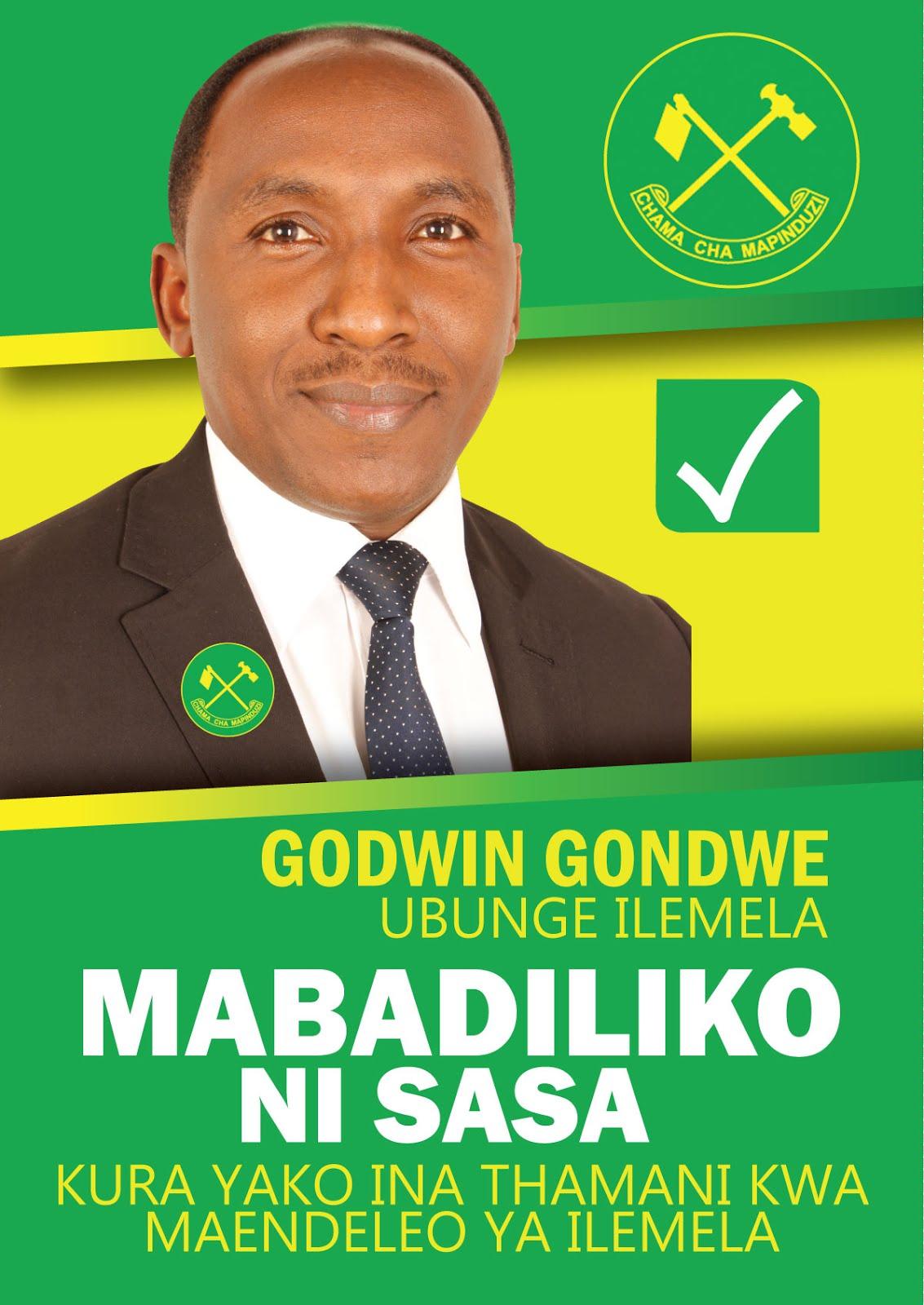 GODWIN GONDWE-ILEMELA CHAGUO LENU KWA MAENDELEO