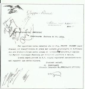 Il documento col quale viene decretata l'espulsione dalla file fasciste di Franco Colombo