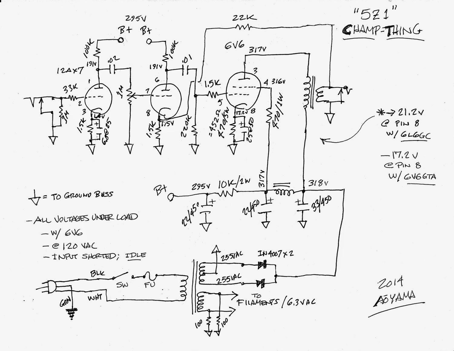 Wiring diagram humor wiring diagrams origami night lamp the 99 cent champ amp part 1 home made guitar amp ccuart Gallery