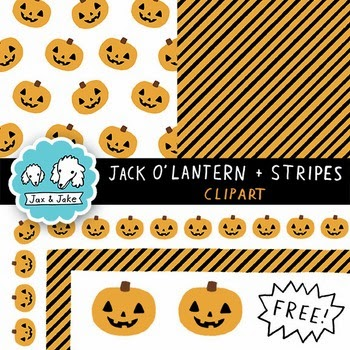 Free Jack O'Lantern and Stripes Halloween Borders and Papers