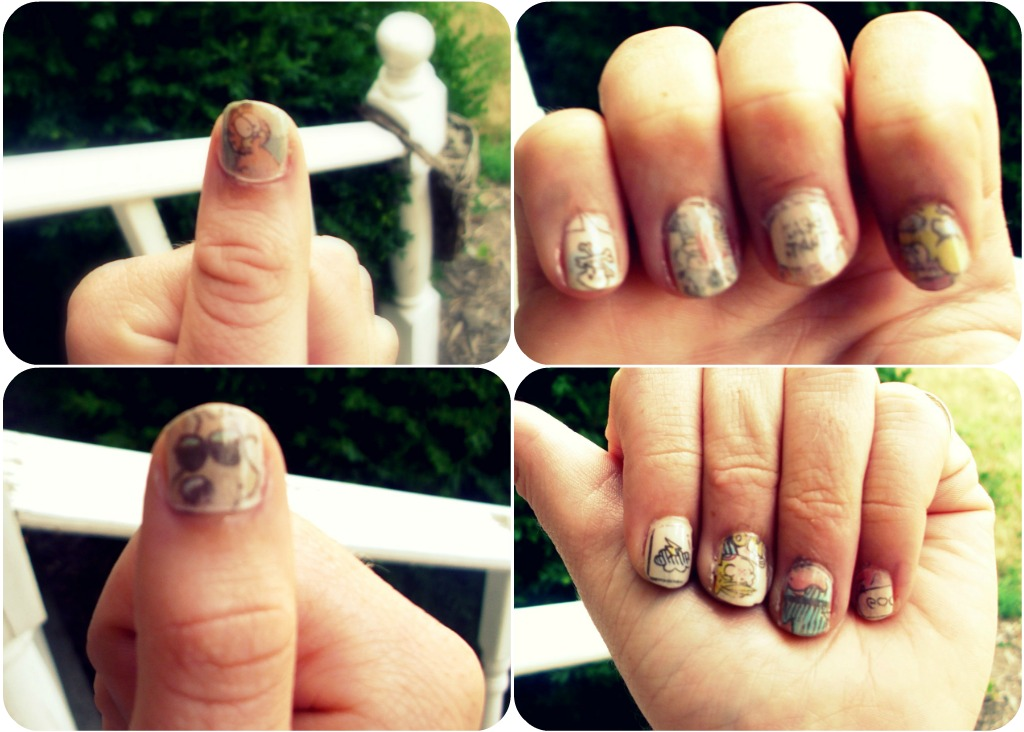 How about this hot nail art. Same idea, different look. Comic strip nails.