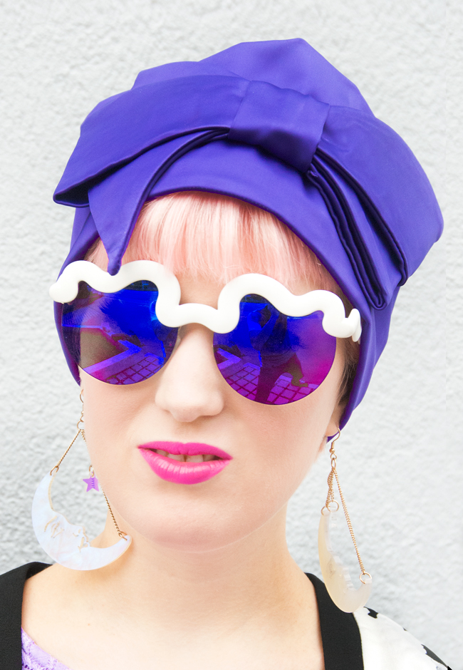 le specs hi brow, purple turban, tatty devine fortune teller