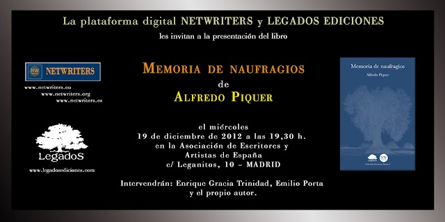 Presentación de MEMORIA DE NAUFRAGIOS de Alfredo Piquer – Legados Ediciones