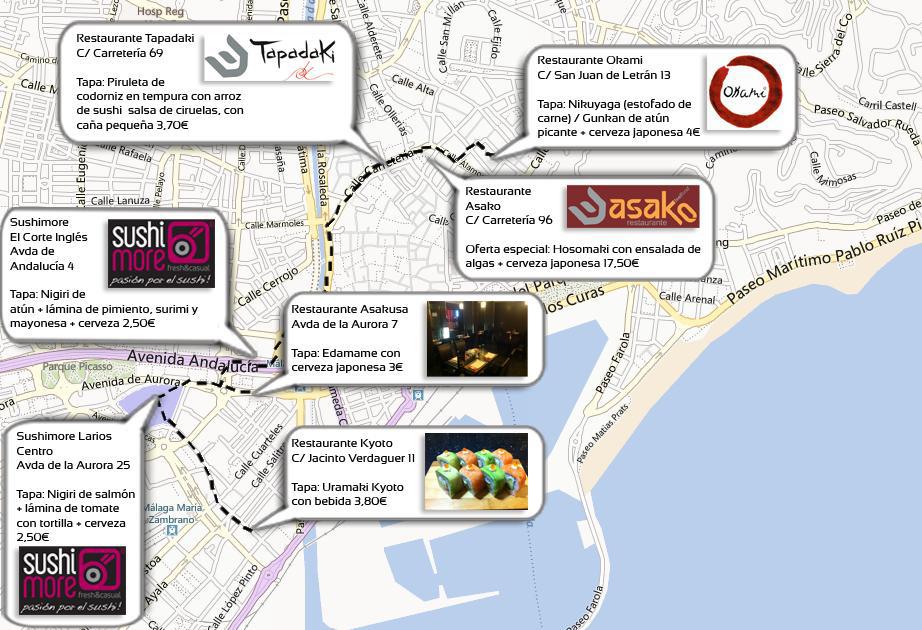 Plano Ruta de la tapa Japonesa Málaga