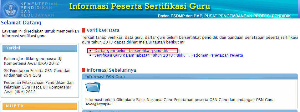 Daftar Peserta Sertifikasi 2013
