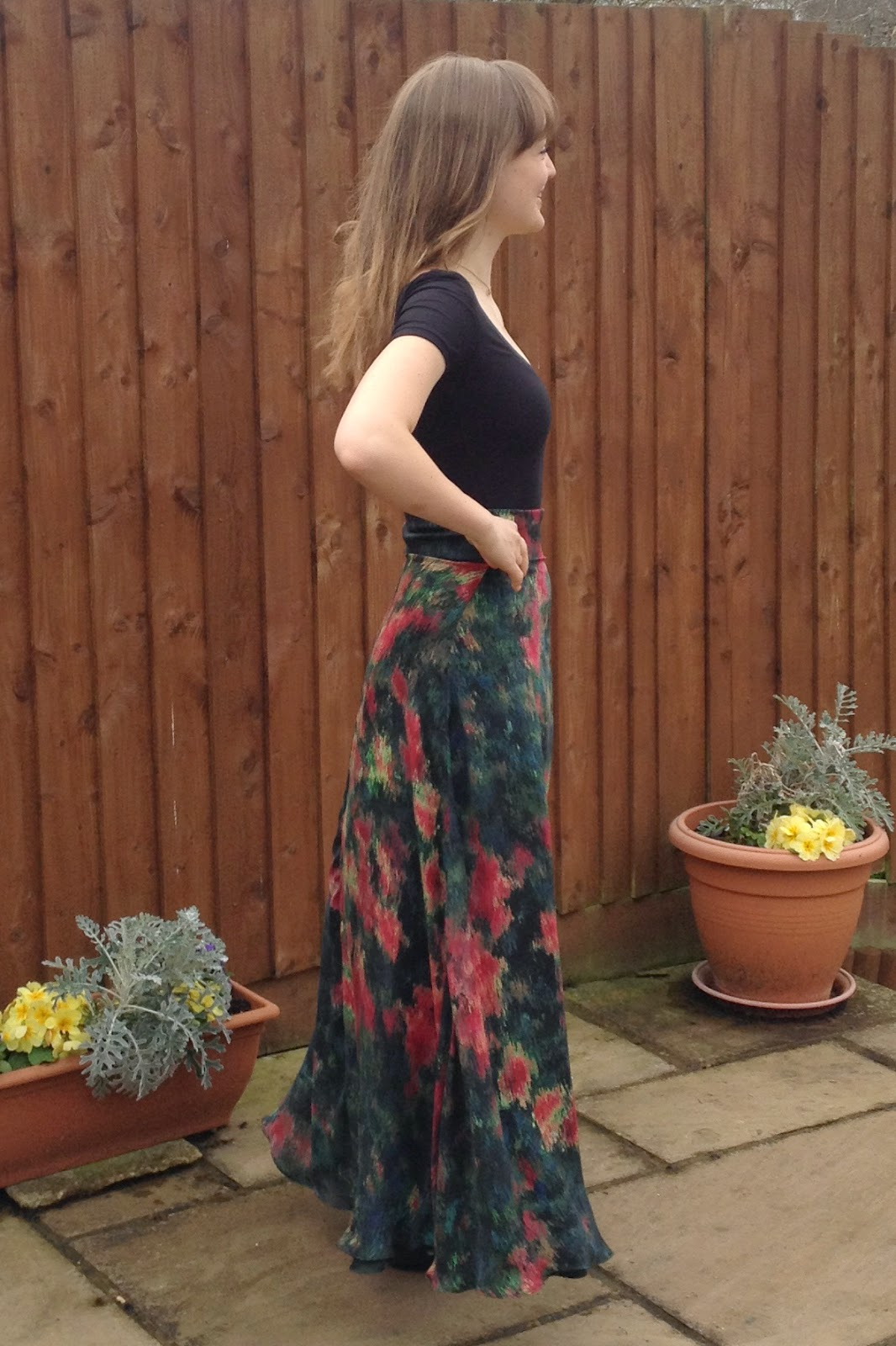 Diary of a Chain Stitcher: Printed Silk Maxi Skirt and Bamboo Jersey Bodysuit with Mood Fabrics