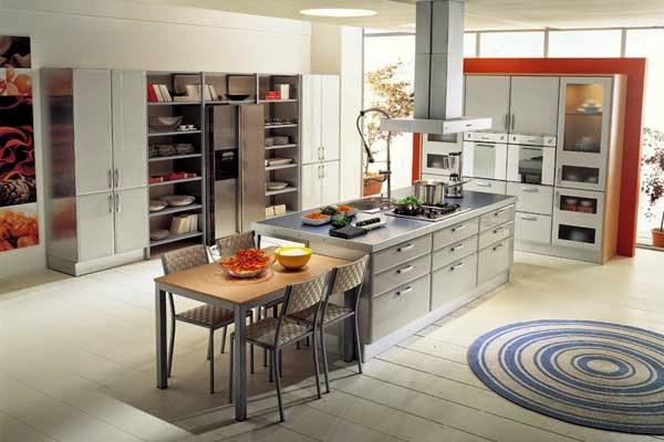 Desain Ruang Makan Minimalis Dengan Furnitur Besi dan Kayu