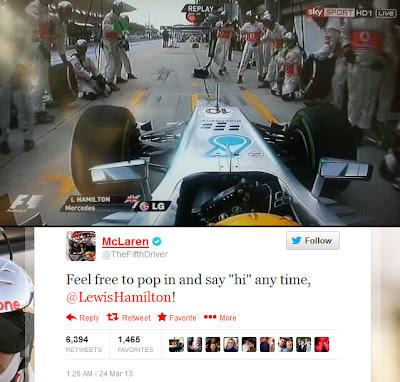 F1 McLaren Tweet - Lewis Hamilton Wrong Pit - 2013 Malaysian Grand Prix - Formula 1