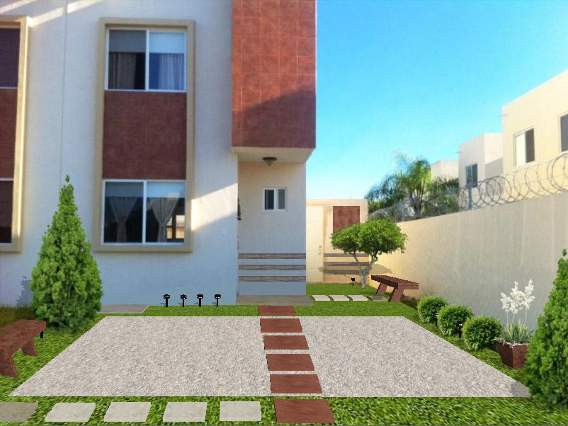 diseño jardin minimalista frente casa