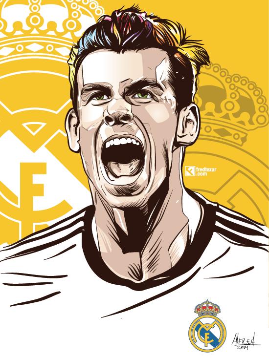 Gambar vector detail Gareth Bale pemain top real madrid, jasa gambar vector, pesan vector, potrait, gallery, t-shirt desain, order, spanyol, fans,