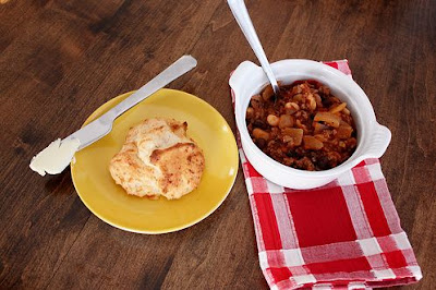 Beef and Bean Chili with Cheesy Garlic Biscuits
