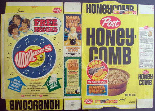 The Monkees free record on back of Honeycomb cereal box
