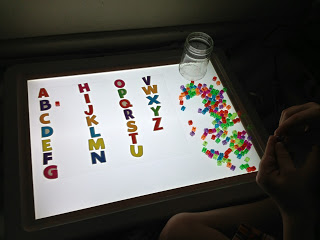 Letter matching with beads from Caution! Twins at Play