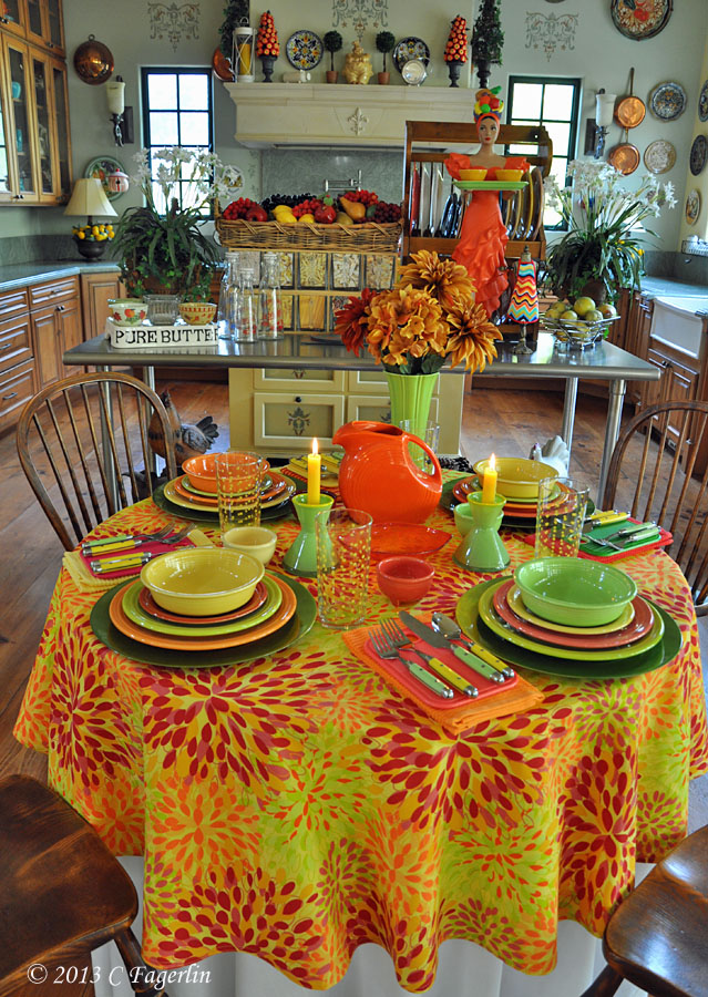 The Little Round Table: New Fiesta Linens - Calypso Tablecloth