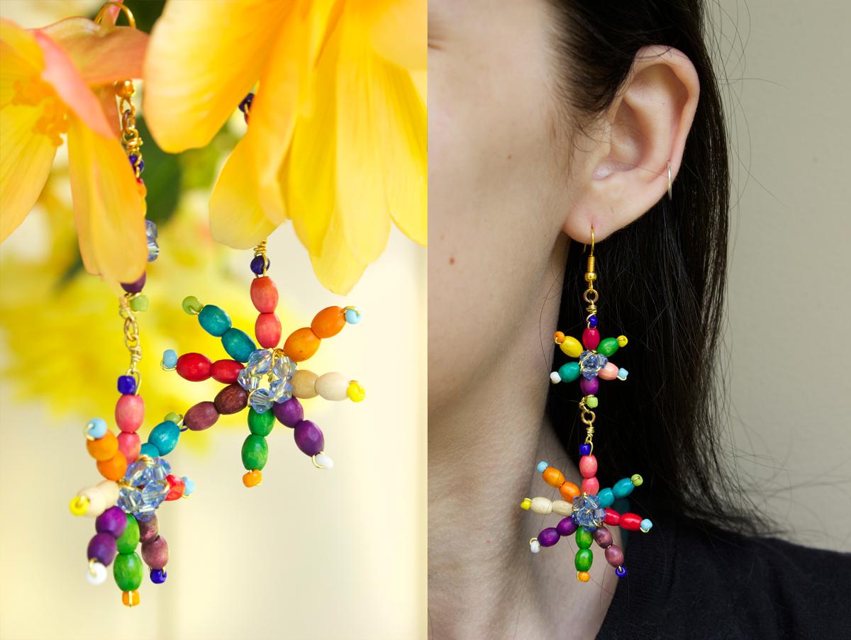 Perles accesoires tuto de boucles d oreilles de marguerite avec des perles en bois - Tuto boucle d oreille perle ...