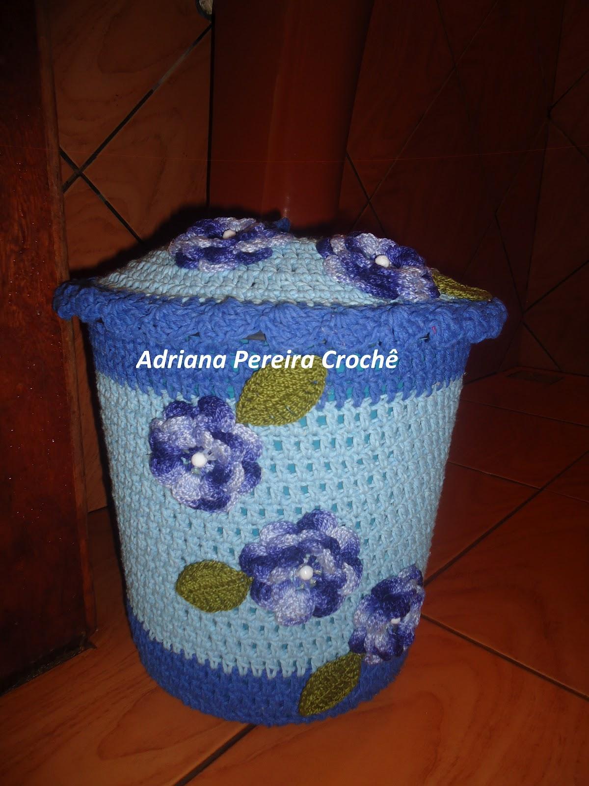 Adriana Pereira Crochê: Lixeira Revestida com Crochê #6E270C 1200 1600