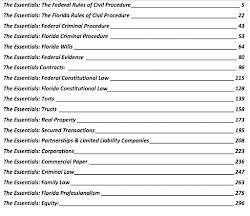 TABLE OF CONTENTS: FLORIDA BAR EXAM ESSENTIALS