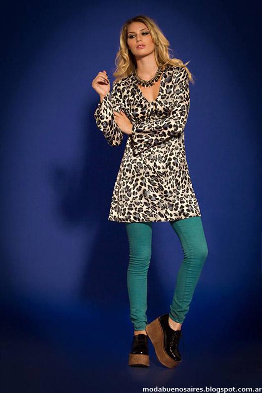 Vestidos y tunicas animal print otoño invierno 2014. Moda invierno 2014.