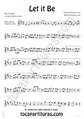 Tubepartitura Let it Be de The Beatles partitura para Saxofón Tenor y Soprano canción del famoso grupo de Liverpool