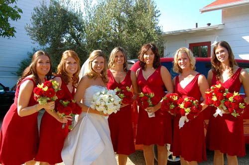 red maternity bridesmaid dress