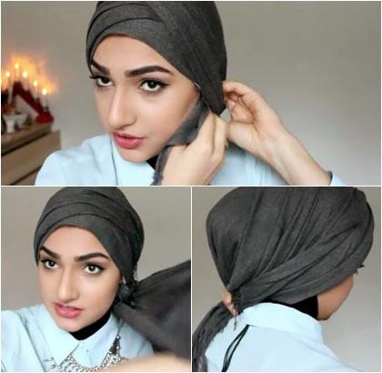 Tutorial Hijab Turban Simple Tampil Cantik Tanpa Jarum 3