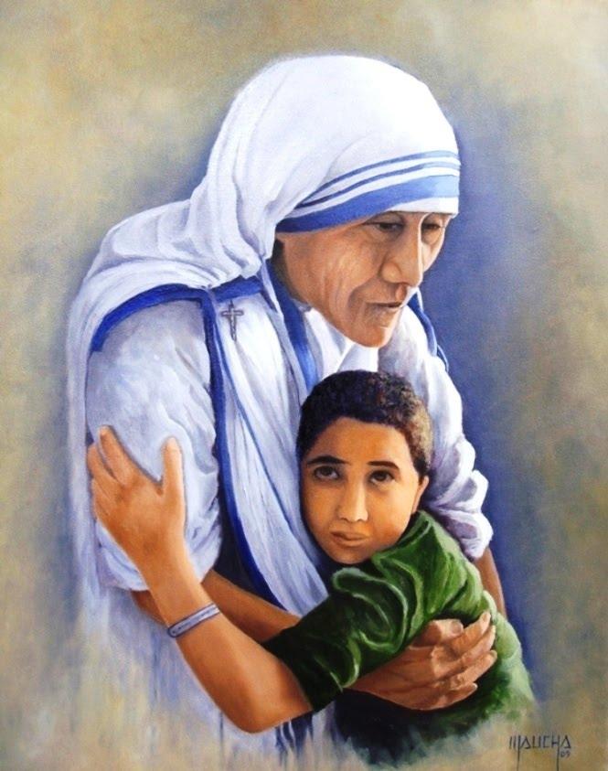 """""""Madre Teresa de Calcutá"""" (Óleo s/ tela - 55x46 - pintado em out de 2009)"""