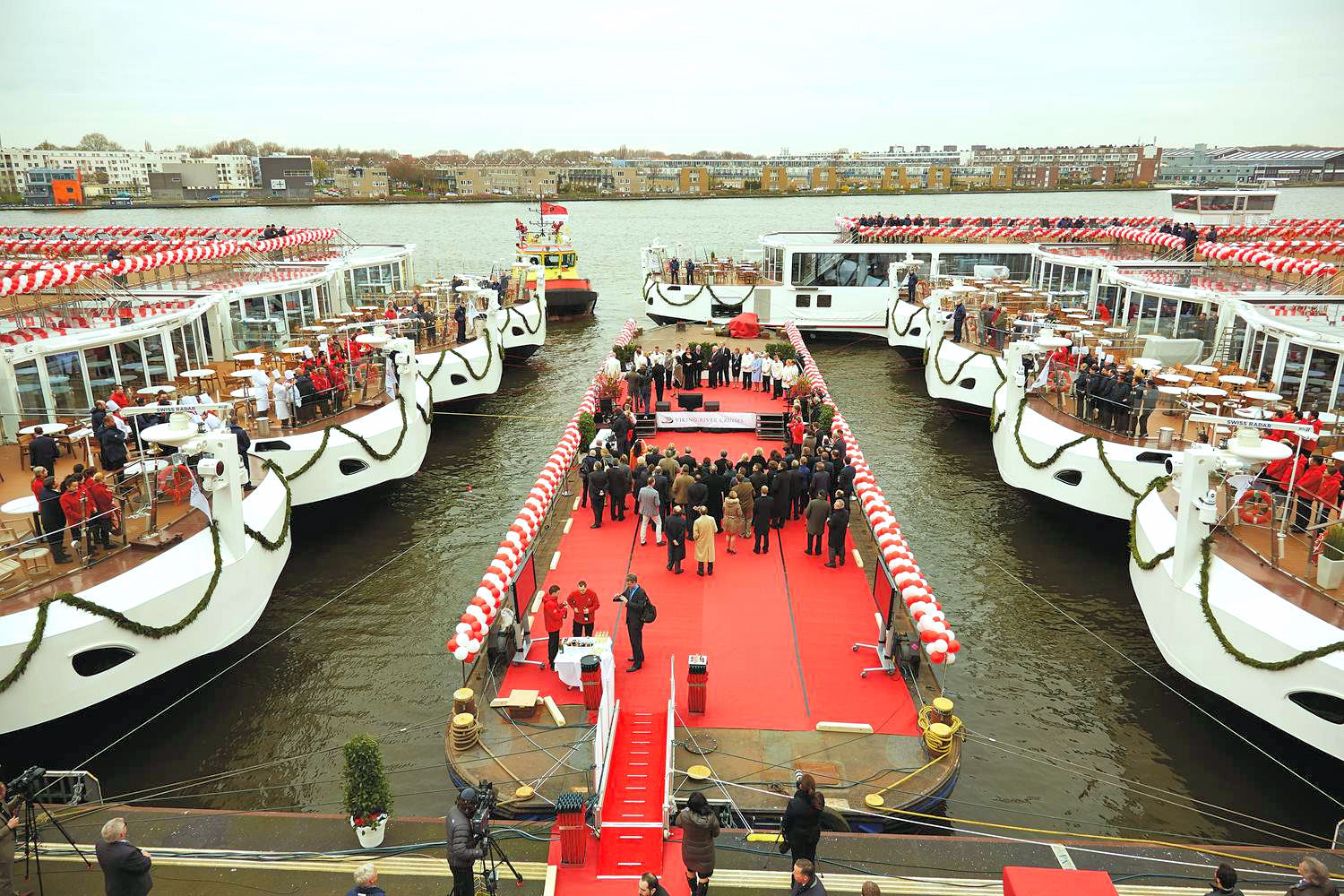 Viking shattered its own world record when it launched 14 Viking Longships in March 2014. Photo: ©Viking Cruises.