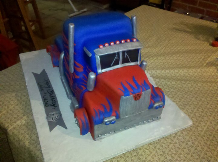 And j delights optimus prime cake