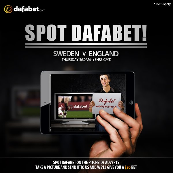 Newest Spot Dafabet Game, Watch Sweden vs England.