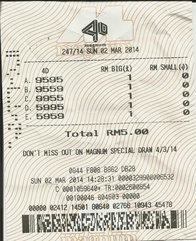 Nombor 9595 diatas telah dibeli secara PAW di Magnum. Nombor tersebut