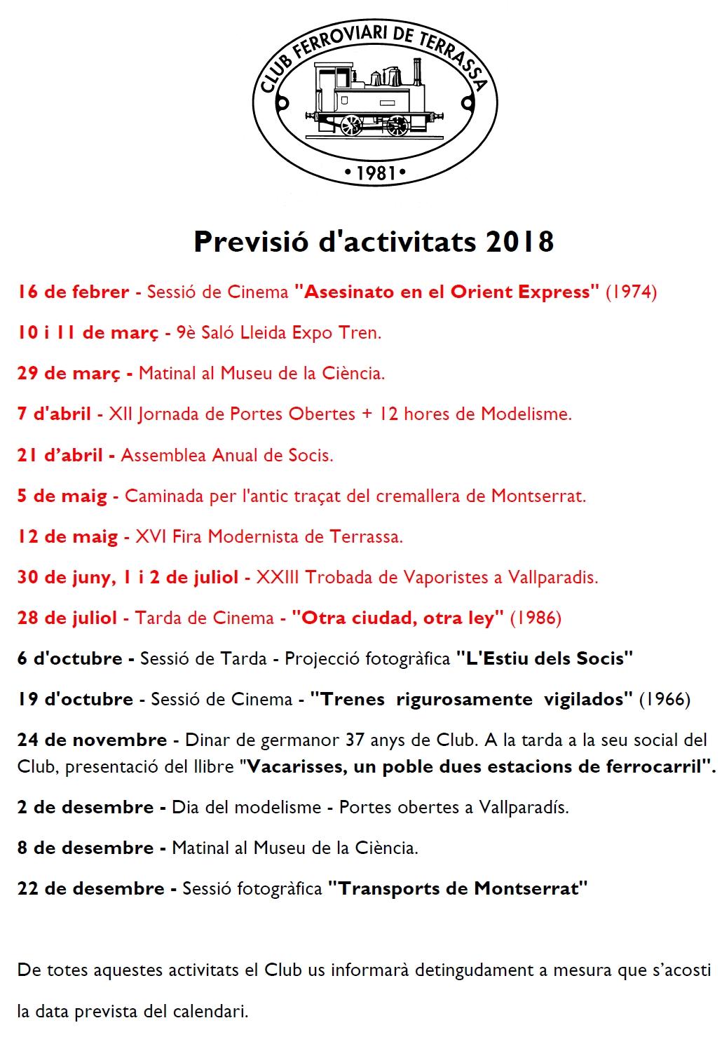 Previsió d'activitats - 5-OCT-2108